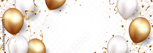 Tela Celebration Banner With Gold Confetti Balloons Isolated