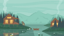 Bungalow Wooden House Cabin In Mountain Landscape Vector Illustration. Cartoon Calm Waters Of Lake Or River, Cozy Exterior Of Stilt Houses Cottages In Green Forest, Travel Weekend Adventure Background