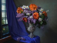 Still Life With A Luxurious Bouquet In A Vintage Vase