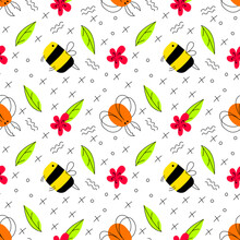 Bright Summer Vector Seamless Pattern With Insects. Hand-drawn Bumblebee, Beetle, Flower, Leaf On A White Background In Flat Style. Fun Illustration For Textiles, Wallpaper, Wrapper. Cartoon Style.