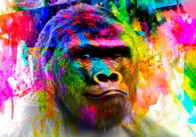 Gorilla Monkey Head With Creative Colorful Abstract Elements On Light Background