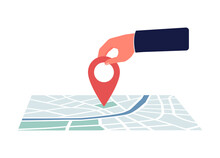 Human Hand Moving Red Pin Route Sign On Map, Flat Vector Illustration Isolated.