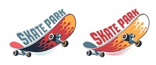 Skateboard Vintage Cartoon Logo. Skate Park Retro Emblem With Funny Skateboard. Vector Illustration.