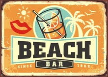 Tropical Beach Bar Sign Board Design Template With Cocktail, Palm Trees, And Creative Lettering. Retro Poster Idea For Summer Vacation Paradise Destinations. Beach Cafe Vector Advertisement.