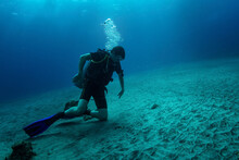 Young Diver Sits On Sandy Bottom On Knees And Carefully Looking At Something Hiding Under Bottom Surface - Probably Some Fish Or Crab. His Pose Shows Some Danger - He Moves Hands Back