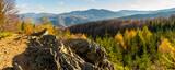 Fototapeta Kamienie - Panorama from the top of Dwernik Kamień on the high Bieszczady Mountains, Bieszczady Mountains