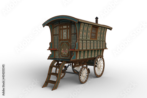 Obraz na plátně 3D rendering of a vintage Romany gypsy caravan decorated with turquoise and green flowers isolated on white