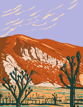 WPA Poster Art Of Ryan Mountain In Joshua Tree National Park Located In California United States Done In Works Project Administration Style Or Federal Art Project Style.