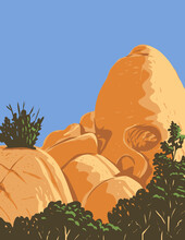 WPA Poster Art Of Skull-shaped Desert Granite Rock Formation Created By Erosion Known As Skull Rock Located In Joshua Tree National Park In California Done In Works Project Administration Style.