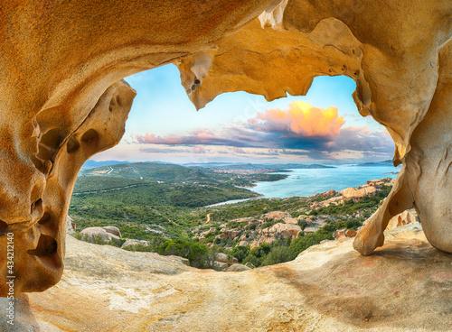 Fototapeta Fantastic view on Palau  from popular travel destination Bear Rock (Roccia dell'Orso)