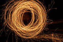 Abstract Light Trail Art In Night Setting, Long Exposure