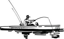 Fisherman With Fishing Rod On Kayak