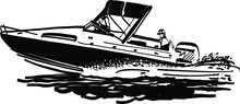 The Vector Illustration Of The Fishing Boat On The Sea