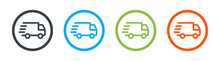 Fast Shipping Delivery Truck Icon. Vector Illustration