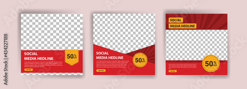 Set of Editable minimal square banner template. Banner vector for social media ads, web ads, business messages, discount flyers and big sale banners. Vector illustration with photo colleg