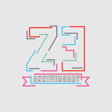 23th Years Anniversary Logo Birthday Celebration Abstract Design Vector Illustration.