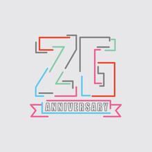 26th Years Anniversary Logo Birthday Celebration Abstract Design Vector Illustration.