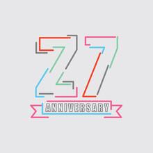 27th Years Anniversary Logo Birthday Celebration Abstract Design Vector Illustration.