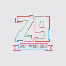 29th Years Anniversary Logo Birthday Celebration Abstract Design Vector Illustration.