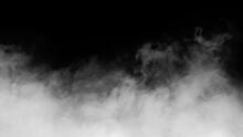 White Smoke Or Fog Isolated On Black Background