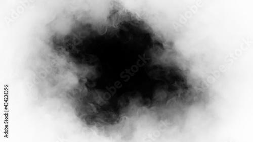 Fotografia White smoke or fog isolated on black background