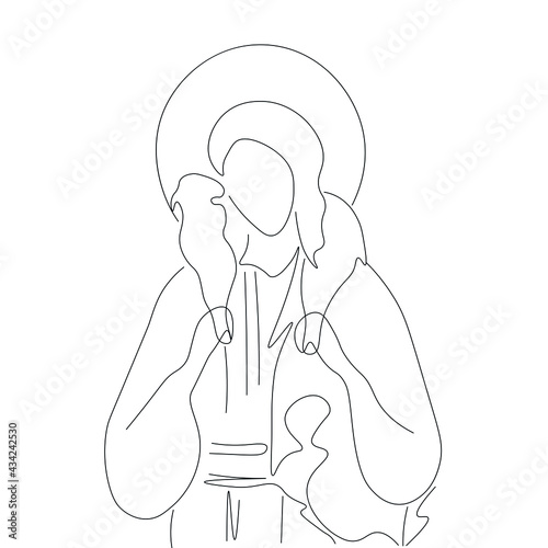 Canvas Print Jesus Christ good shepherd with the lamb line drawing silhouette white backgroun