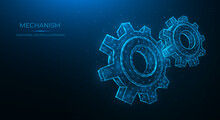 Polygonal Vector Illustration Of A Mechanism Isolated On A Blue Background. Gears, Cogwheel Or Settings. Industrial Or Mechanical Engineering.