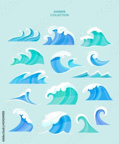 Fotografiet Summer sets collection. Vector illustration of summer symbols