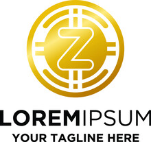 Initial Z Letter Coin Cryptocurrency Logo