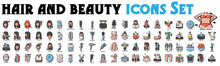 Hair And Beauty Icons Set. Hair Icons, Beauty Icons