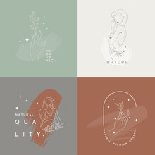 Drawing Of Set Banner Beauty. Continuous Line Portrait Hand Of A Girl ,drawing Abstract Women's In A Modern Minimalist Style. Vector Illustration..