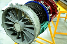 Prototype Of Aircraft Turbo Prop Engine Displayed In Aircraft Maintenance Classroom For Studying At Thailand.