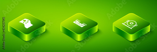 Canvas-taulu Set Isometric Great wall of China, Gong and flag icon. Vector