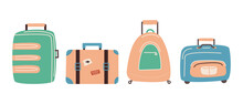 Set Of Travel Bags. Suitcases For Things Collected For The Trip. Vector. Flat Style
