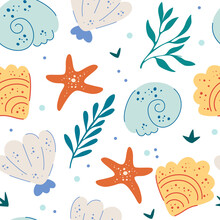 Sea Shells And Starfish Seamless Pattern. Cute Ocean Background. Fun Underwater Background, Great For Ocean Themes, Beach Fabrics, Summer Textiles Or Background, Wallpapers. Flat Vector Illustration