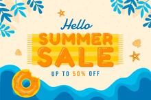 Flat Hello Summer Sale Illustration