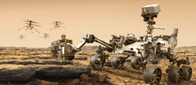 Martian Drones And Mars Rover Colonization Elements Of This Image Furnished By NASA 3D Illustration