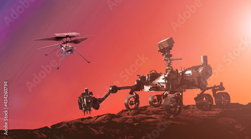 Fotografia, Obraz Mars exploration with a Martian drone and rover image furnished by NASA 3D illus