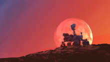 Exploration Red Planet On Mars Rover, Elements Of This Image Furnished By NASA 3d Illustration