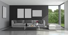 Blck And Gray Modern Living Room