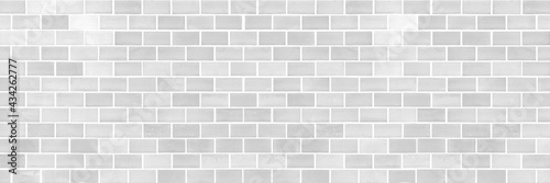 Panorama of Modern white brick wall texture for background