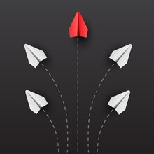 Individuality Concept. Individual And Unique Leader Red Paper Plane Flies To The Side. Think Different.
