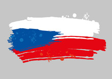 Czech Flag Painted By Brush