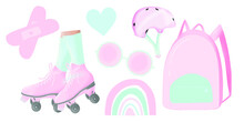 Summer Pink Collection Of Clip Art, Clip Art Videos, Retro Style, Illustration In The Style Of The 90s, Pink And Blue Colors, Rollers And Helmet, Backpack, Glasses, Heart, Rainbow Clip Art, Band-aid