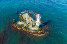 Aerial View Of A Lighthouse On A Rock In The Sea, Hönö, Gothenburg Archipelago, Sweden.