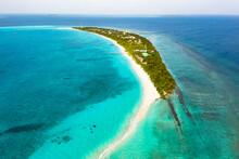 Panoramic Aerial View Of The Local, Inhabited Island Of Vashafaru With Sandbank, Maldives.