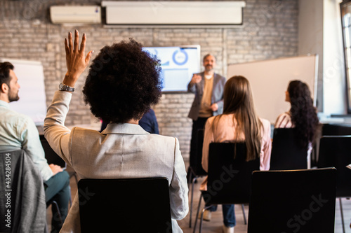 Group of diverse business people in conference meeting room during presentation Fototapet