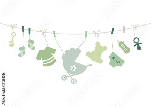 Canvastavla Karte Bogen Hängende Babysymbole Unisex Grün Beige