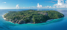 Aerial View Of Frégate Island, A Private Resort Surrounded By The Ocean, Seychelles.
