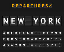 Mechanical Airport Flip Board New York And Set Of Letters And Numbers . Vector